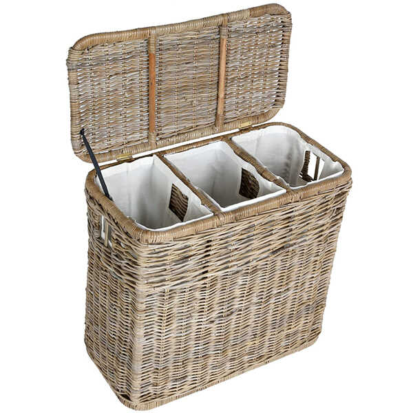 The Basket Lady 3-Compartment Wicker Laundry Hamper