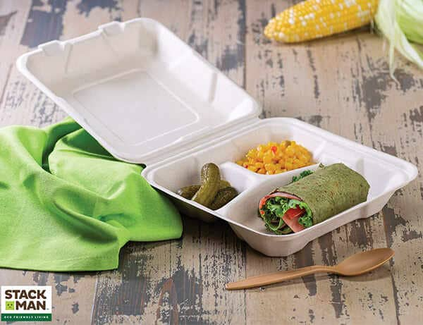 Stack-Man-Compostable-Clamshell-Take-Out-Food-Containers